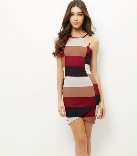 AX Paris Cream Colour Block Strappy Bodycon Dress | New Look