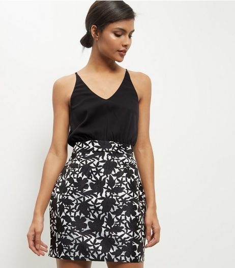 AX Paris Black 2 in 1 Floral Print Dress | New Look