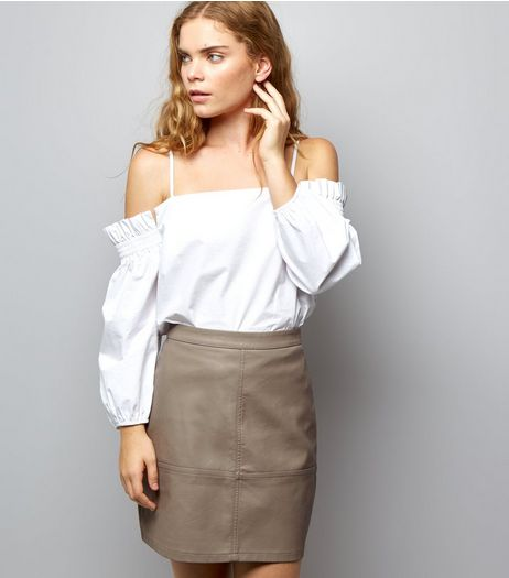 Mink Leather-Look Mini Skirt  | New Look