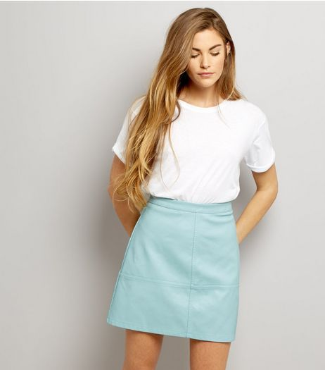 Mint Green Leather-Look Mini Skirt  | New Look