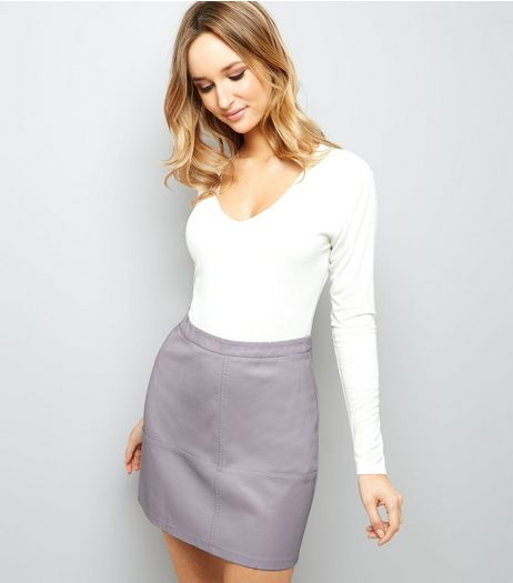 Lilac Leather-Look Mini Skirt | New Look