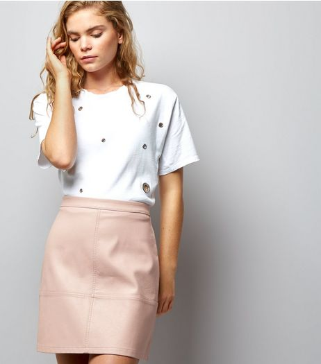 Mid Pink Leather-Look Mini Skirt  | New Look