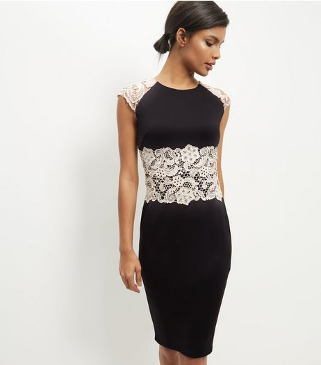 AX Paris Black Crochet Lace Panel Midi Dress | New Look