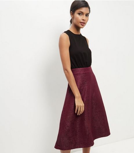 AX Paris Burgundy 2 in 1 Skater Dress | New Look