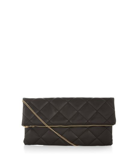 Black Quilted Foldover Clutch | New Look