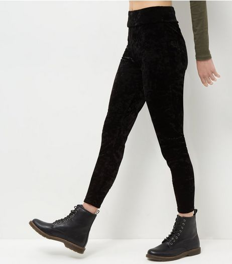 Black Crushed Velvet Leggings  | New Look