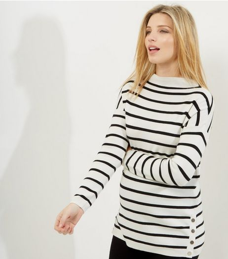 Maternity White Stripe Popper Side Funnel Neck Jumper | New Look