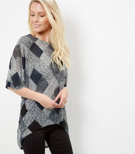 Black Diamond Print Fine Knit Top | New Look