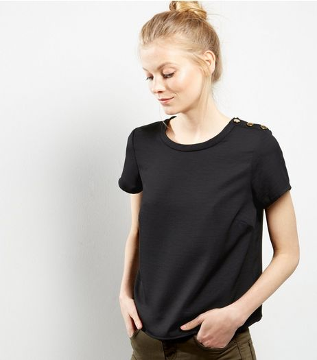 Black Gold Button Detail T-Shirt | New Look