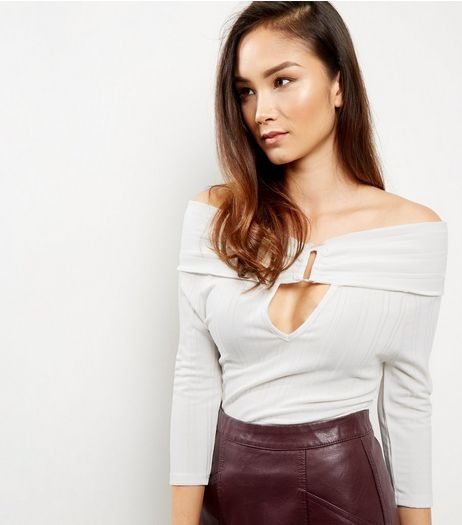 Cream Buckle Front Ribbed Bardot Top | New Look