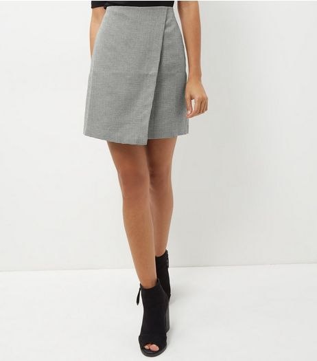 Black Check Wrap Front Mini Skirt  | New Look