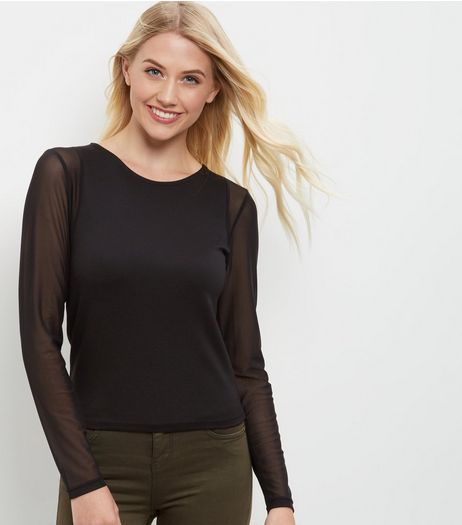Black Mesh Sleeve Top | New Look
