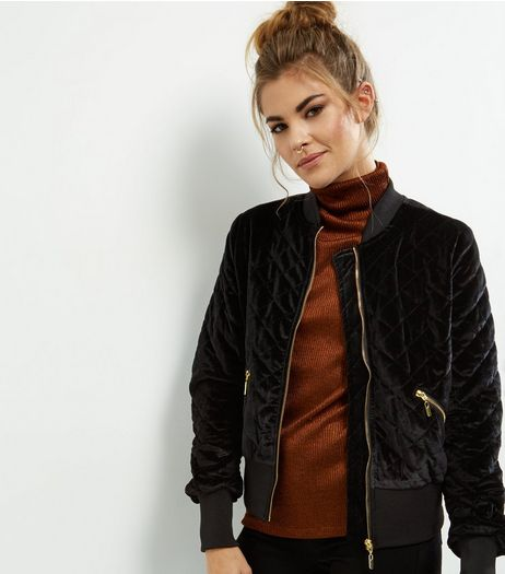 Black Velvet Quilted Bomber Jacket  | New Look