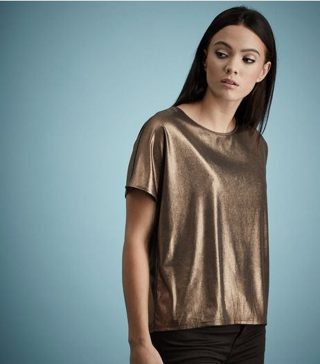 Brown Metallic Short Sleeve T-Shirt  | New Look