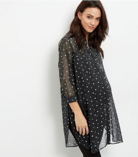 Maternity Black Star Print Longline Shirt | New Look