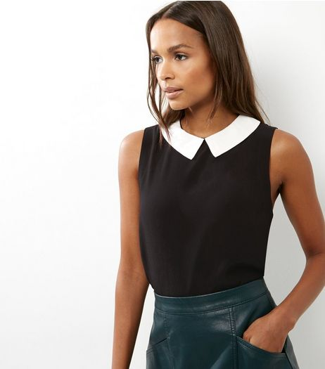 Black Contrast Collared Sleeveless Top | New Look