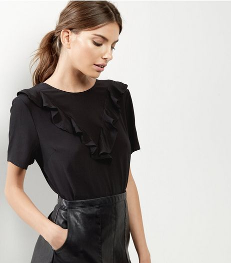 Black Frill Trim Short Sleeve Top  | New Look