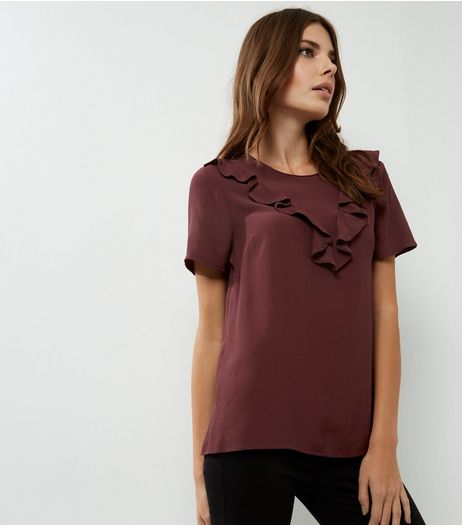 Burgundy Frill Trim Short Sleeve T-Shirt  | New Look