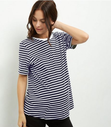 Maternity Blue Stripe Panel T-Shirt | New Look