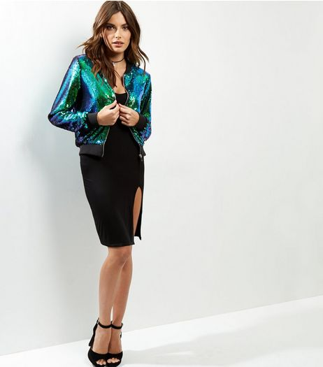 Green Sequin Bomber Jacket  | New Look