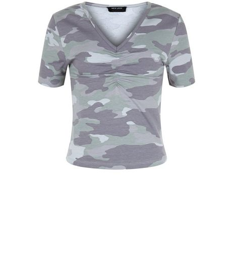 Teens Green Camo Ruffle T-Shirt | New Look