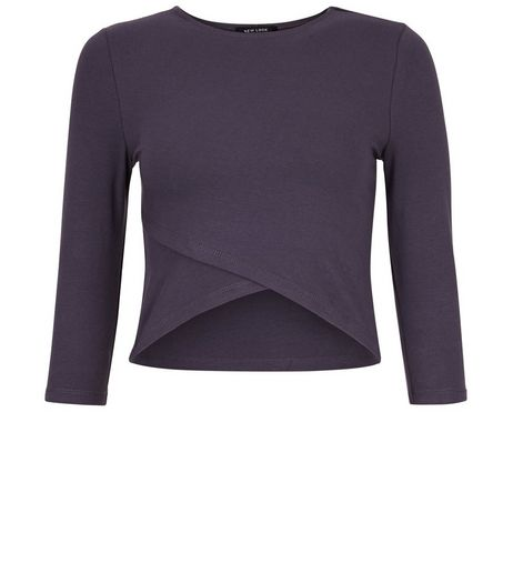 Teens Grey Cross Front Half Sleeve Top | New Look