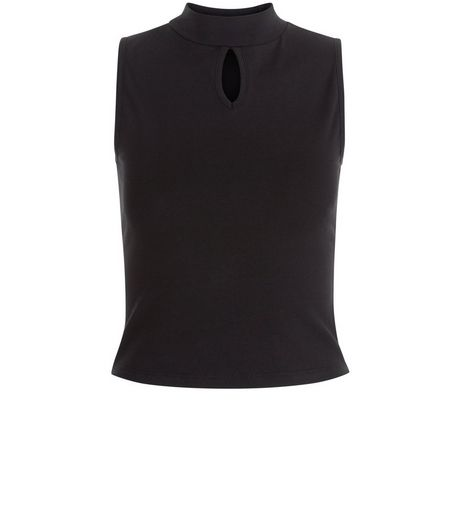 Teens Black Funnel Neck Keyhole Top | New Look