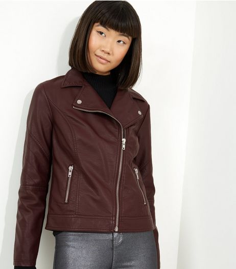 Burgundy Biker Jacket | New Look