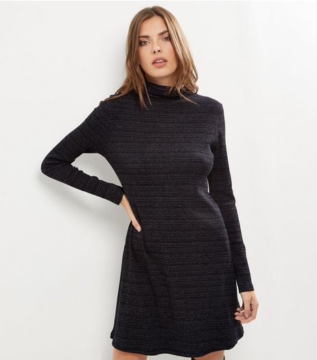 Black Textured Stripe Funnel Neck Long Sleeve Swing Dress | New Look