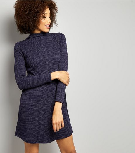 Navy Textured Stripe Turtle Neck Long Sleeve Swing Dress | New Look