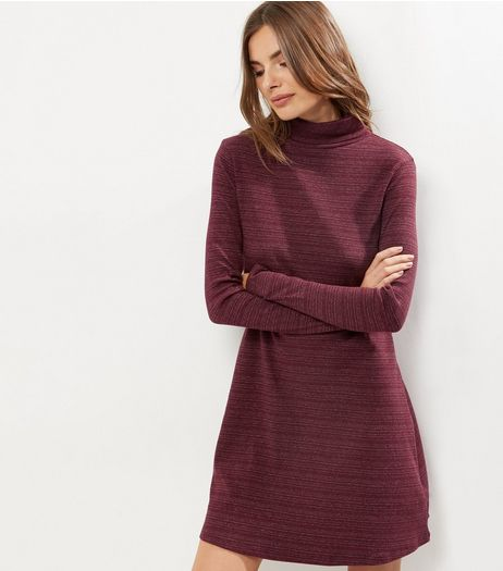 Burgundy Textured Stripe Funnel Neck Swing Dress | New Look