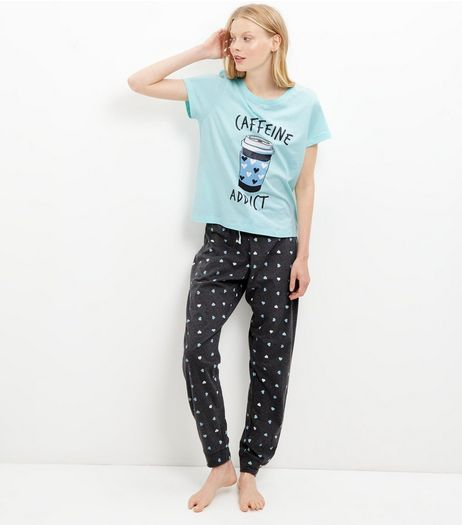 Mint Green Heart Print Pyjama T-Shirt and Joggers | New Look