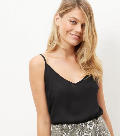 Black V Neck Cami Top | New Look