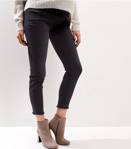 Maternity Black Frayed Hem Under Bump Skinny Jeans | New Look