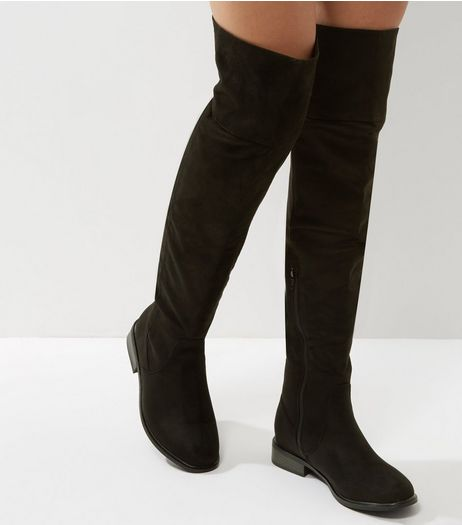 Black Suedette Over The Knee Flat Sole Boots | New Look
