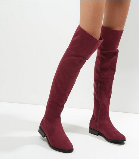 Burgundy Suedette Flat Over The Knee Boots  | New Look