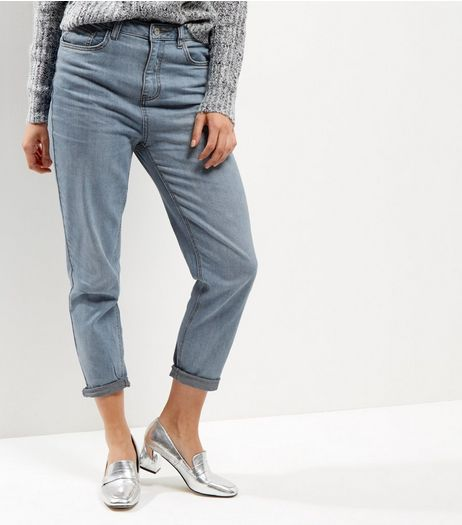 Pale Blue Turn Up Mom Jeans  | New Look