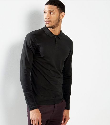 Black Polo Neck Long Sleeve T-Shirt | New Look