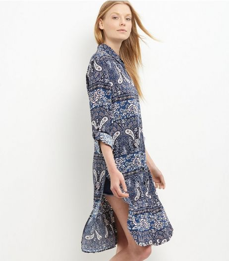 Apricot Blue Paisley Print Shirt Dress | New Look
