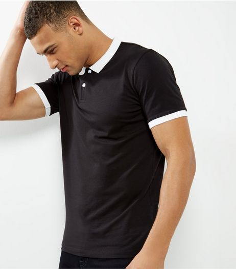 Black Contrast Trim Polo Shirt | New Look