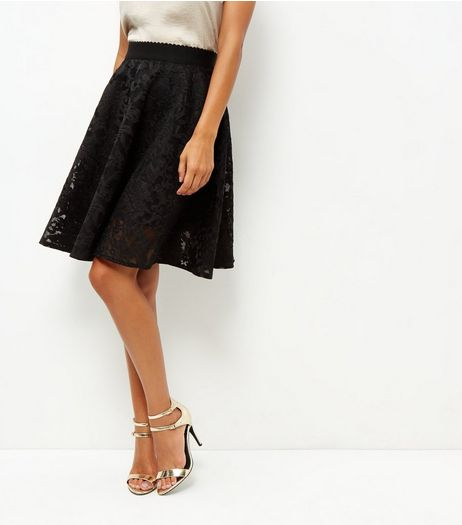 Black Full Lace Skater Skirt | New Look
