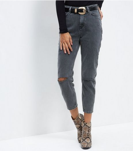 Black Washed Ripped Knee Mom Jeans | New Look