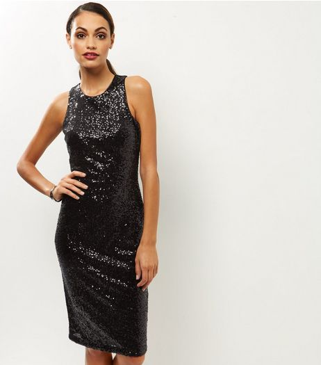 Black Sequin Sleeveless Bodycon Midi Dress | New Look