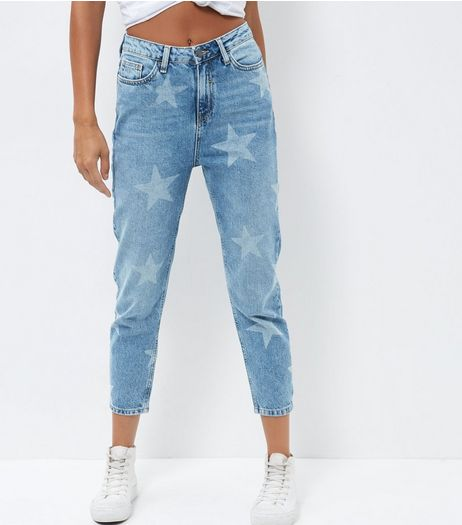 Blue Star Print Mom Jeans | New Look