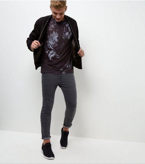 T-shirt noir à imprimé floral | New Look