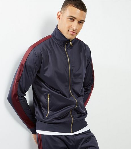 Navy Tape Print Sleeve Zip Up Hoodie  | New Look