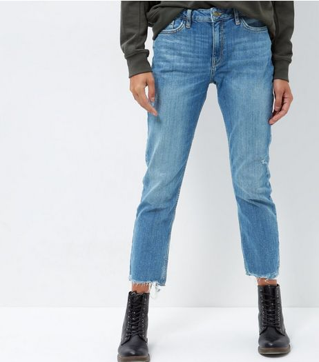Blue Fray Hem Straight Leg Jeans  | New Look