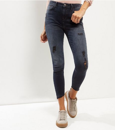 Black Ripped Fray Hem Skinny Jeans  | New Look