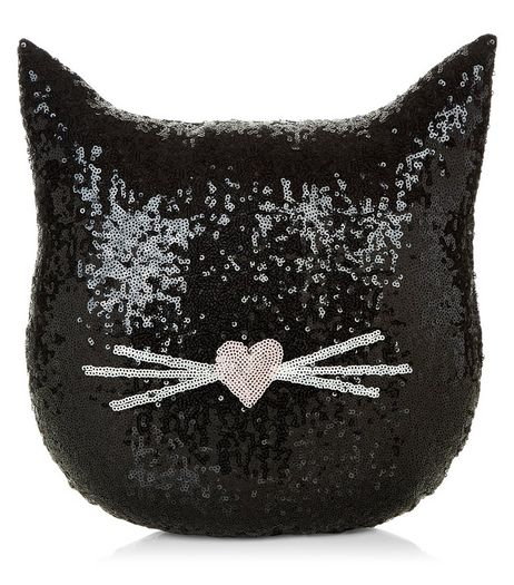 Black Sequin Cat Cushion | New Look
