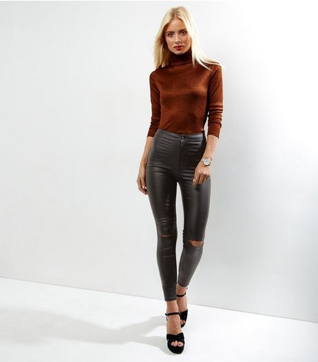 Black Ripped Knee Coated Disco Jeans  | New Look